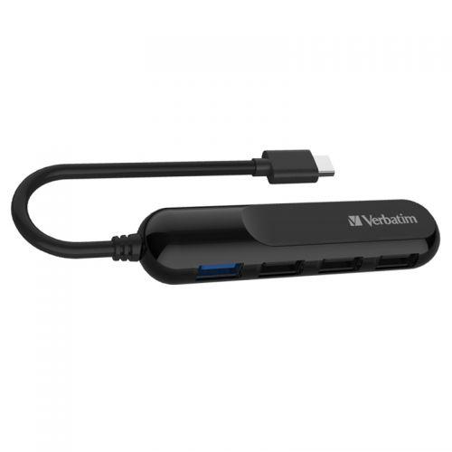 威宝(Verbatim)TypeC Hub 连 USB3.0 & USB2.0 转换器 集线器 65952 (黑色)