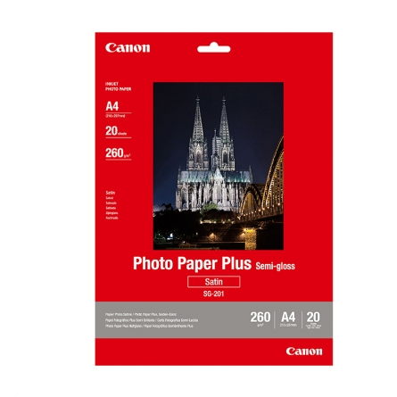 产地日本 进口佳能(Canon) SG-201 A4亚高光泽照片纸 A4/20张 佳能相纸
