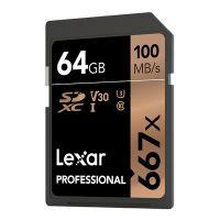 雷克沙(Lexar)64G SD存储卡U3 V30 4K微单反相机高速存储卡 667X(黑色)【特价商品,非质量问题不退不换,售完即止】【清仓折扣】