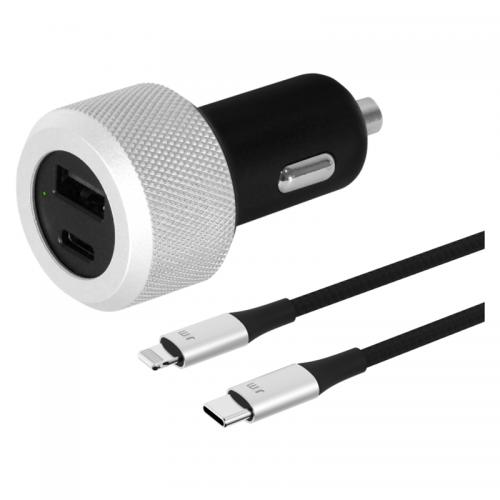 Just Mobile 车充套装 配USB-C To Lighting线(黑色)